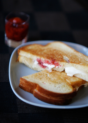 Strawberry Kumquat Preserves and Mascarpone Grilled Cheese Sandwich