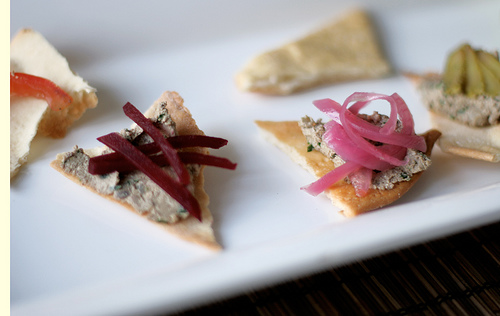 Chopped Liver on Lavash Crackers