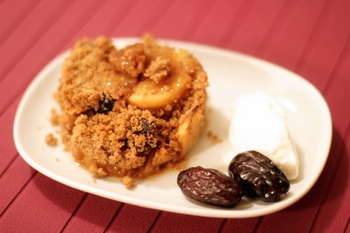Apple & Adabba Date Crisp with Mascarpone/Coconut Cream