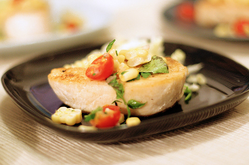Pan Seared Escolar with Cherry Tomatoes, Corn & Basil