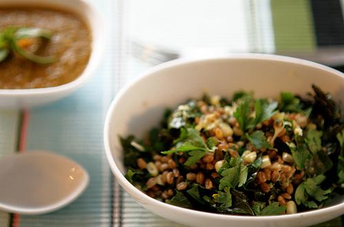 Russian Kale Wheatberry Salad