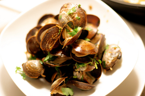 Manila Clams Steamed in Chinese Rice Wine & Chili Pepper Sauce