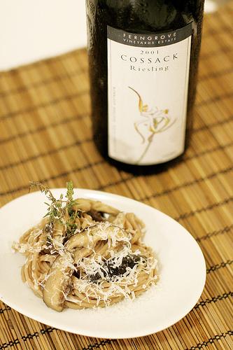 chestnut pasta with shiitake mushrooms