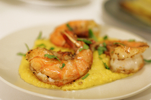 Broiled Coriander Prawns with Turmeric Polenta