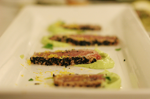 Seared Black Sesame Ahi with Avocado Mousse