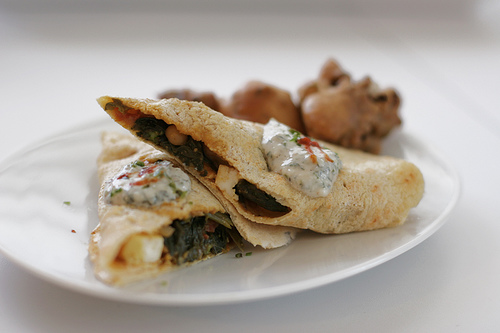 Moong Dal Dosas stuffed with Palak Paneer