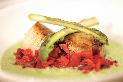 Seared Magdalena Scallops with Asparagus Veloute & Chioggia Beets