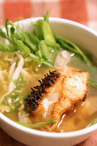 Broiled Sea Bass Collar in Miso Broth