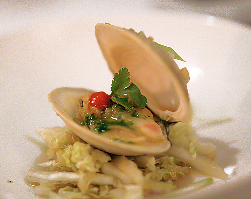 Lemongrass Ginger Clams with Cilantro Oil