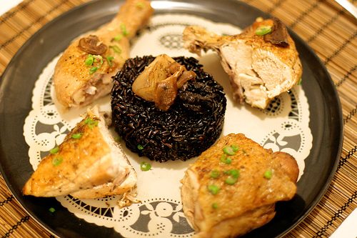 Braised Chicken with Porcini Mushrooms, Shallots & Prunes