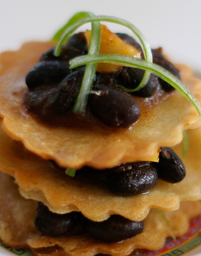 Mini Black Bean Tostada Tower
