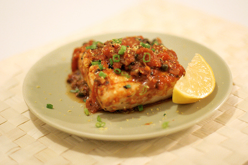 Halibut with Tomato Caper Sauce
