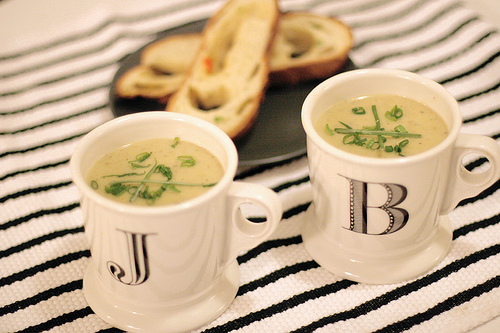 Cheddar Potato Soup with Chili Cheese Bread