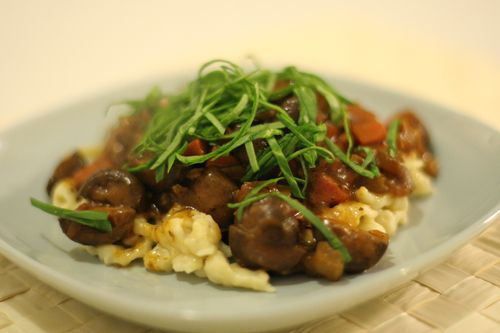 Spaetzle with Porcini Mushroom Stew