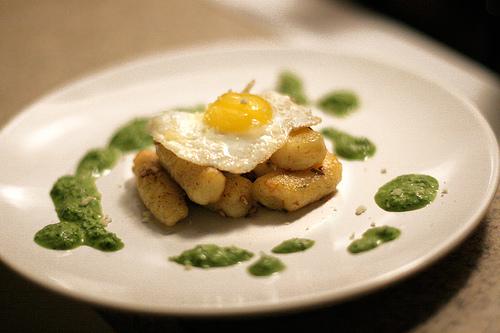 Saffron Gnocchi & Quail Egg with Parsley Sauce