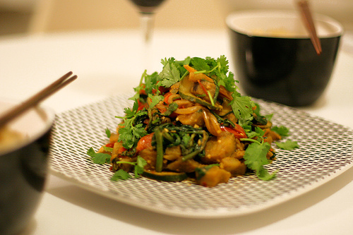 Eggplant Stir-Fry with Spicy Sesame Sauce