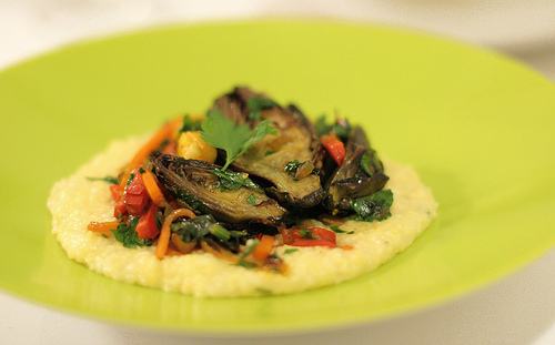 Baby Purple Artichoke Ragout with Polenta