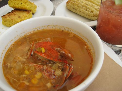 Maryland Crab Soup with Grilled Corn & Cornbread