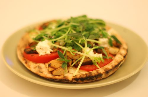 Grilled Oyster Mushroom, Tomato & Goat Cheese Pita Pizza