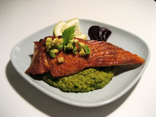 Seared King Salmon with Green Mole