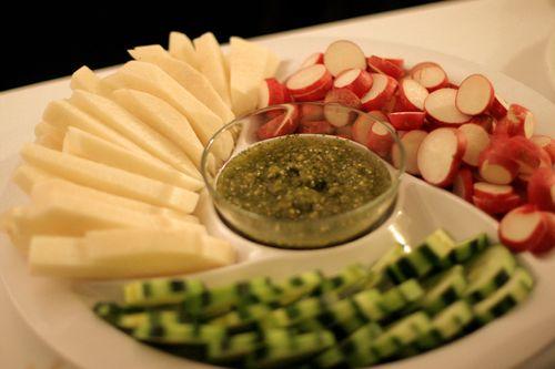 Jicama, Radishes and Cucumbers w/Salsa Verde